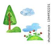 scandinavian pine tree  lake or ... | Shutterstock . vector #1344932231