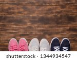 colorful  shoes top view. set... | Shutterstock . vector #1344934547