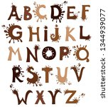 chocolate alphabet  isolated on ... | Shutterstock . vector #1344939077