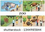 isometric zoo animals colorful... | Shutterstock .eps vector #1344985844