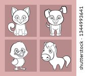 set of images of funny animals  ... | Shutterstock .eps vector #1344993641