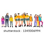 vector  girls are embracing | Shutterstock .eps vector #1345006994