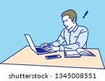 man working on a laptop... | Shutterstock .eps vector #1345008551