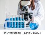 woman scientist working in... | Shutterstock . vector #1345016027