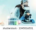 young woman scientist working... | Shutterstock . vector #1345016531