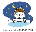 boy sleeping at night | Shutterstock .eps vector #1345019834