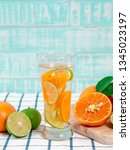 summer refreshing drink  citrus ... | Shutterstock . vector #1345023197