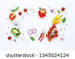 various fresh vegetables and... | Shutterstock . vector #1345024124