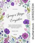spring magic. invitation. blue... | Shutterstock .eps vector #1345025234