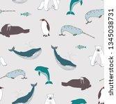 sea animals seamless vector... | Shutterstock .eps vector #1345038731