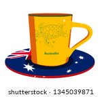 yellow cup with australia flag... | Shutterstock .eps vector #1345039871