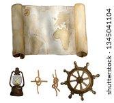 watercolor vintage nautical old ...   Shutterstock . vector #1345041104