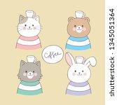 cartoon cute animals and coffee ... | Shutterstock .eps vector #1345051364