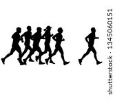 set of silhouettes. runners on... | Shutterstock .eps vector #1345060151