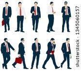 set silhouette businessman man... | Shutterstock .eps vector #1345060157