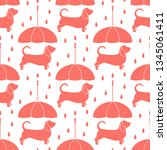 seamless pattern with rain and... | Shutterstock .eps vector #1345061411
