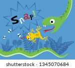 vector cartoon of snake hunting ... | Shutterstock .eps vector #1345070684