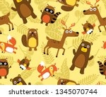 seamless pattern vector with... | Shutterstock .eps vector #1345070744