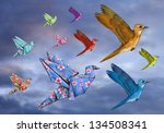 origami and stylized birds... | Shutterstock . vector #134508341