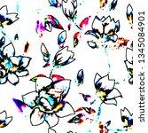 trace flowers pattern | Shutterstock . vector #1345084901