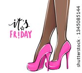 vector girl in high heels.... | Shutterstock .eps vector #1345085144