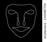 cartoon face. contour face...   Shutterstock .eps vector #1345087754