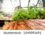 wooden desk of free space for... | Shutterstock . vector #1345091651