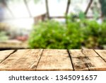 wooden desk of free space for... | Shutterstock . vector #1345091657