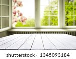 desk of free space and window... | Shutterstock . vector #1345093184