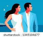 holidays resort time. couple in ... | Shutterstock .eps vector #1345104677