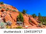 red rock mountains landscape.... | Shutterstock . vector #1345109717