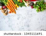 healthy organic bio vegetables...   Shutterstock . vector #1345111691