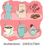 hand drawn colorful coffee... | Shutterstock .eps vector #1345117364