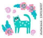 vector cute cartoon cat with...   Shutterstock .eps vector #1345136537