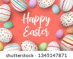 happy easter eggs frame with... | Shutterstock .eps vector #1345147871