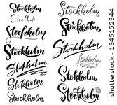 set of hand lettering stockholm ... | Shutterstock .eps vector #1345152344