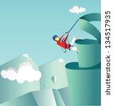 mountaineer climbs on a pike.... | Shutterstock .eps vector #134517935