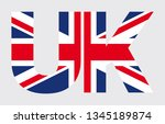 vector flag of uk in text uk.... | Shutterstock .eps vector #1345189874