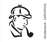 vector illustration of sherlock ...   Shutterstock .eps vector #1345194131