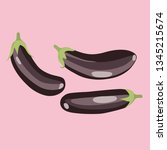 eggplants. icon of an eggplant. ... | Shutterstock .eps vector #1345215674