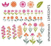 flowers collection | Shutterstock .eps vector #134522471