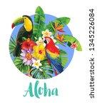 tropical hawaiian template...   Shutterstock .eps vector #1345226084