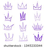 set of colored crowns on white. ...   Shutterstock .eps vector #1345233344