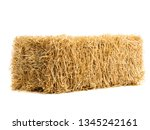 Dry Haystack Isolated On White...