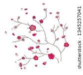 sakura branch with red flowers...   Shutterstock .eps vector #1345257041
