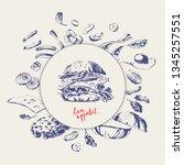 hand drawn fast food restaurant ... | Shutterstock .eps vector #1345257551