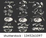 hand drawn chalk fast food... | Shutterstock .eps vector #1345261097