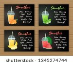 set of smoothie fruit cocktail... | Shutterstock .eps vector #1345274744