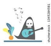 ghost play guitar vector | Shutterstock .eps vector #1345284581