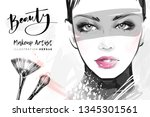 hand drawn beautiful girl face... | Shutterstock .eps vector #1345301561